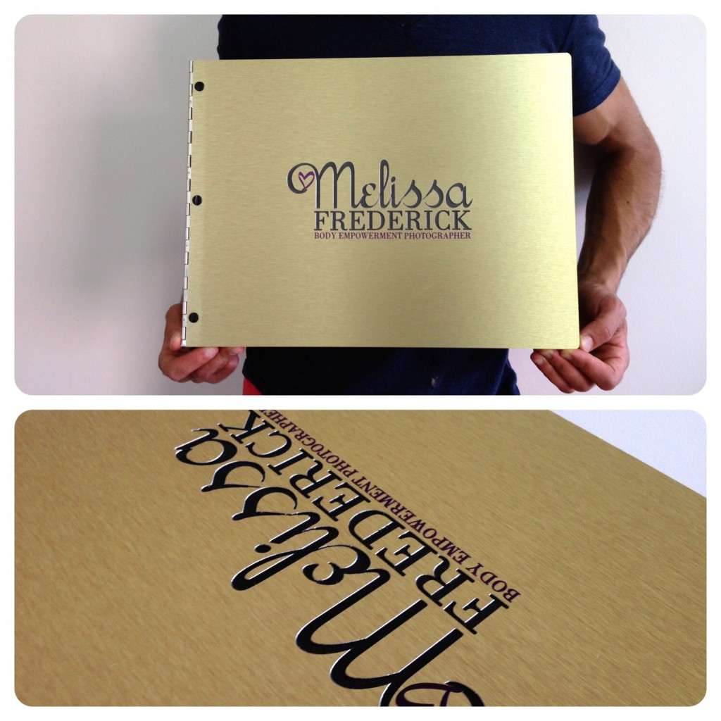 Custom brushed bronze aluminum photography portfolio book with engraving and vinyl decal treatment