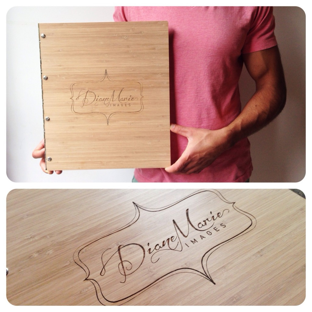 Custom photography portfolio book in caramel bamboo with engraving treatment