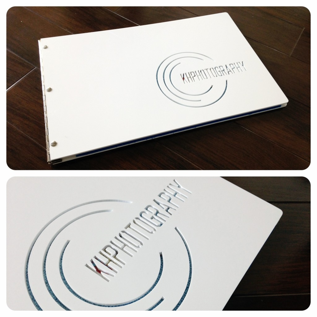 Klo Portfolios- Custom white acrylic phototgraphy presentation book with cut-out treamtment