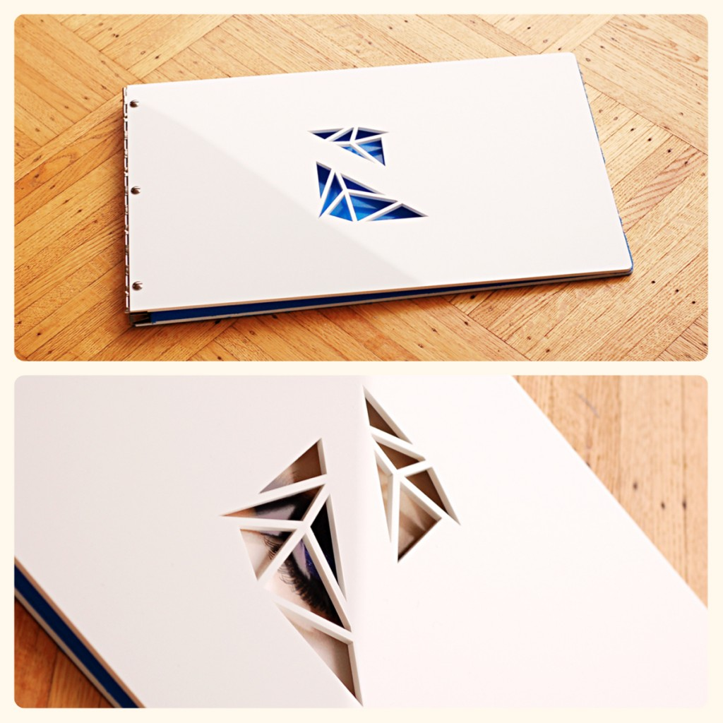 custom portfolio book- white acrylic with cut-out from klo portfolios