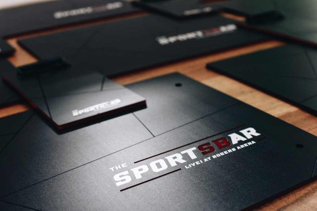 custom menu backers for Vancouver Sports Bar by Klo Portfolios