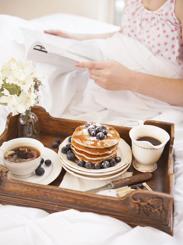 Blueberry Panckes In Bed Food Photography Editorial