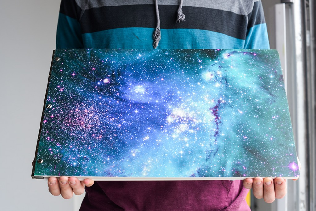 Custom Galaxy Patterned Portfolio book