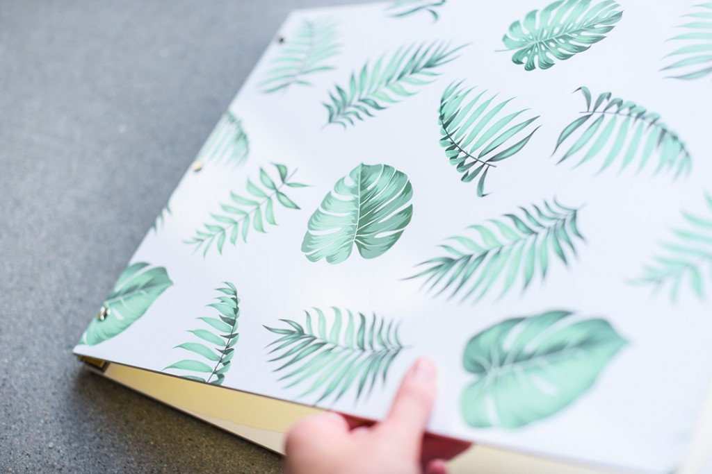 Tropical Leaves Custom Screw Post Binding Portfolio