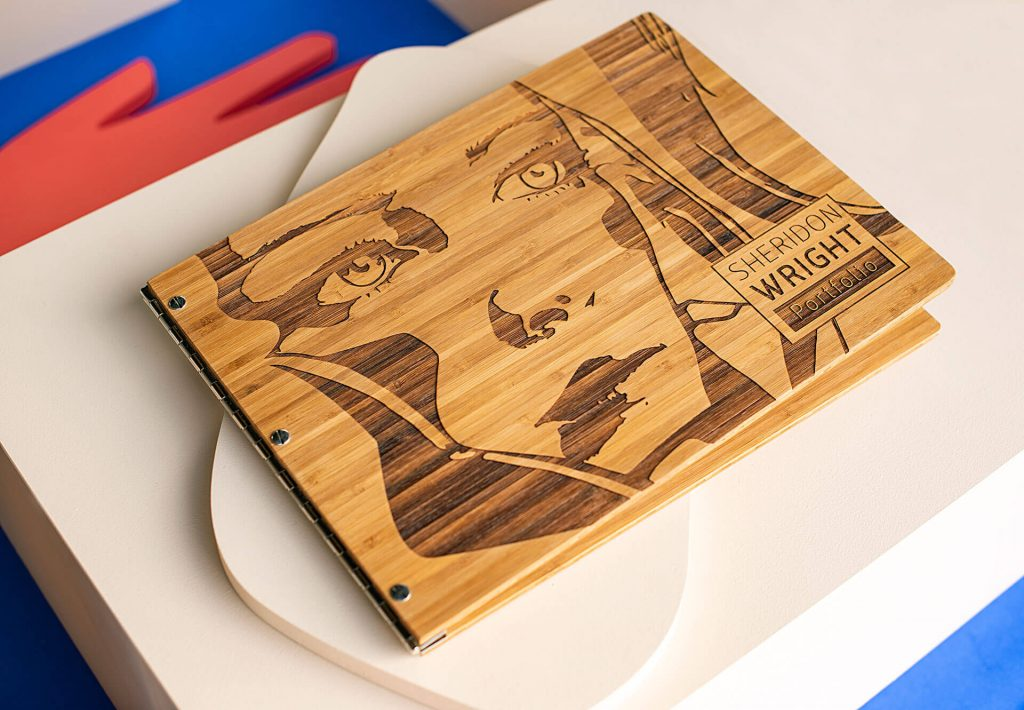 Custom-bamboo-graphic-design-portfolio-book-by-Klo-Portfolios