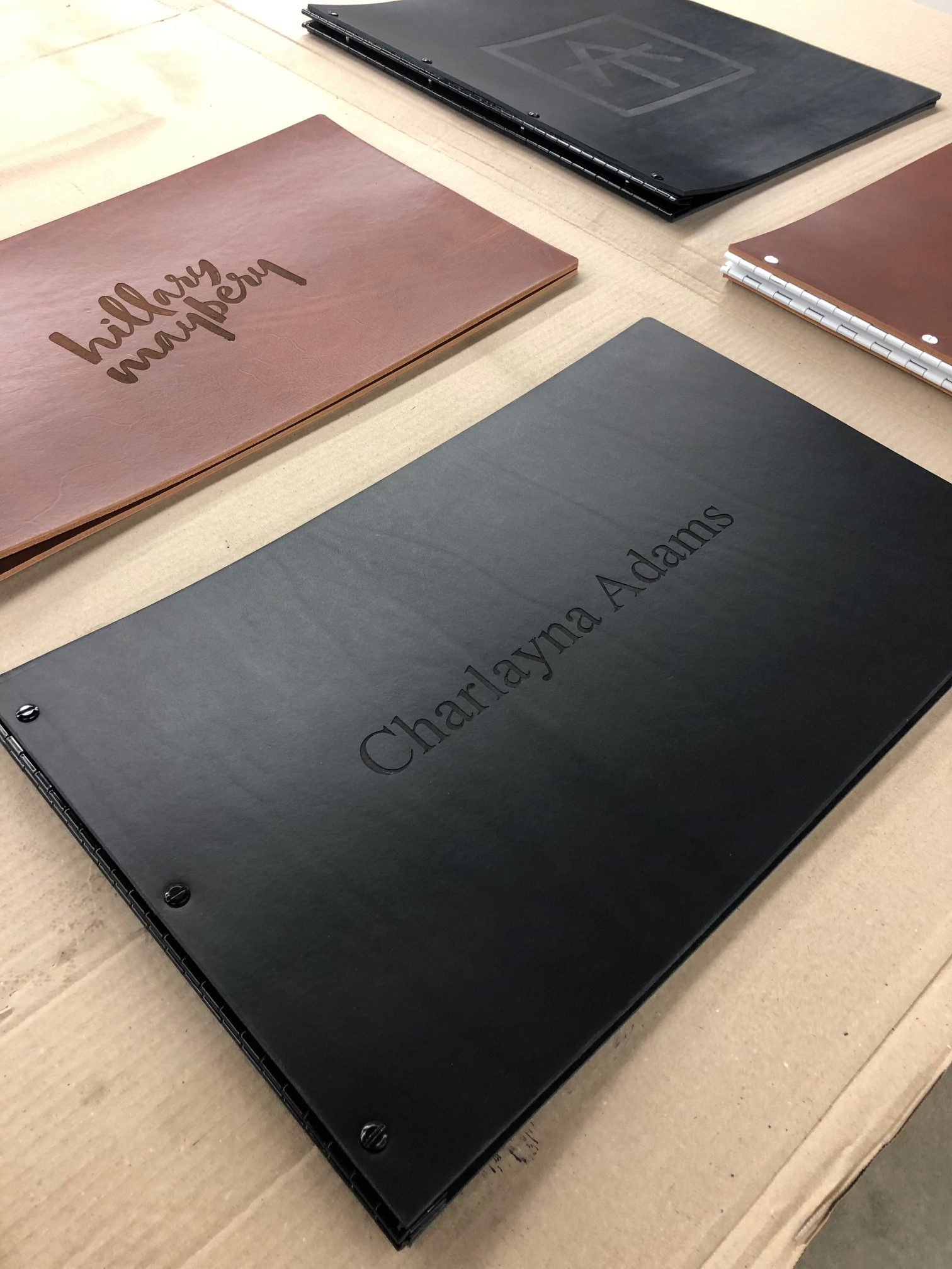 Custom leather screwpost portfolio book