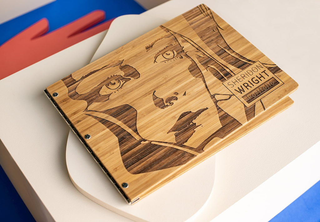 Custom bamboo graphic design portfolio book by Klo Portfolios