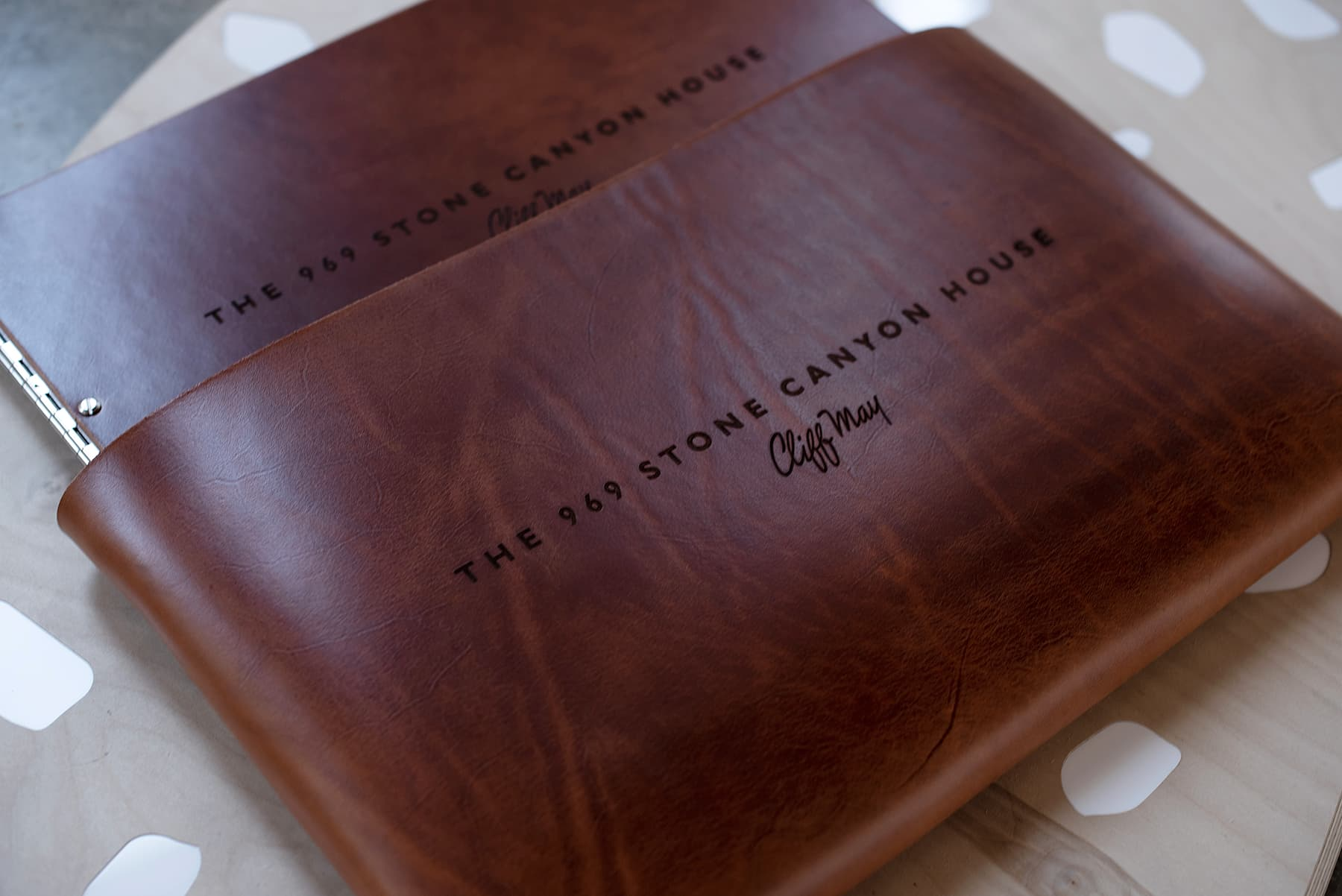 Custom leather portfolio book and case